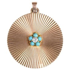9 KT. Yellow Gold Diamond and Turquoise Medallion Pendant/Fabulous 1960's Medallion