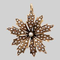 14 KT. Rose Gold & Split Pearl Floral Sunburst Pendant