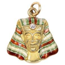 Enamel and Gold Pharaoh Charm / Pendant