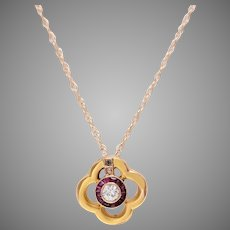 14 KT. Yellow Gold Quatrefoil Diamond and Ruby Pendant