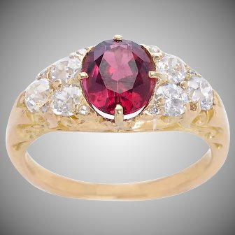 Antique Rubellite and Diamond Ring