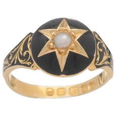 Late Victorian Black Enamel, 18 KT. Yellow Gold and Pearl Memorial Ring