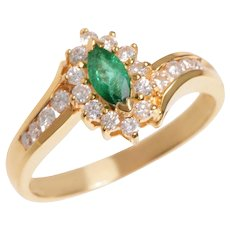 18 KT. Yellow Gold Marquis Emerald and Diamond Swirl Ring