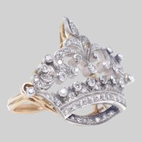 Vintage 14 KT Gold and Diamond Coronet Ring