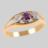 18 KT Gold and Platinum Ruby and Diamond 3 Stone Ring