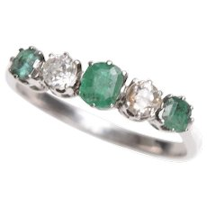Diamond and Emerald 5 Stone Band in 18 KT White Gold