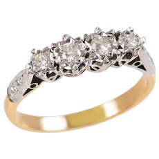 18 KT. Yellow Gold, Platinum and Diamond Ring