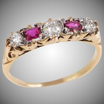 18 KT. Yellow Gold 5 Stone Ruby and Diamond Ring