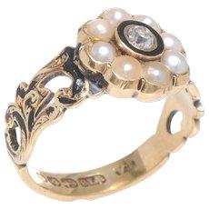 Enamel, Pearl and Old European Diamond Memorial Ring