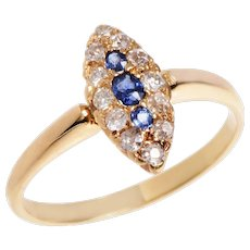 18 KT. Yellow Gold Sapphire and Diamond Navette Ring
