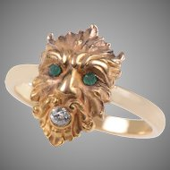 14 KT. Yellow Gold Greek God Diamond and Emerald Ring