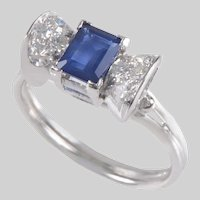 Sapphire and Diamond Ring set in Platinum
