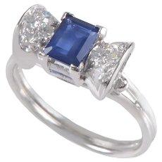Sapphire and Diamond Ring set in Platinum