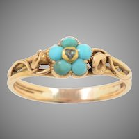 Antique Victorian 14 KT. Yellow Gold, Cabochon Turquoise and Diamond Forget me not Ring