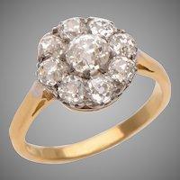 Floral Cluster Old Euro Diamond  Ring set in 18 KT. Gold