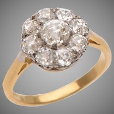 Floral Cluster Old Euro Diamond  Ring set in 18 KT. Gold