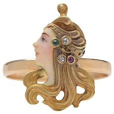 Art Nouveau Lady in Profile Enamel Diamond and Emerald and Garnet Ring (RESERVED)