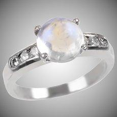 Vintage Platinum Moonstone and Diamond Ring