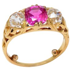 Antique Pink Sapphire and Old Euro Diamond Ring