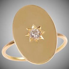 18 KT. Gold Oval Disc and Old Euro Diamond Star Ring