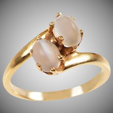 Cat's Eye Moonstone Bypass Ring in 14 KT. Gold