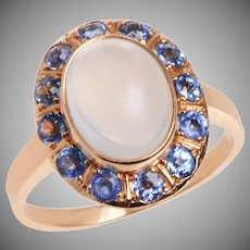 Vintage Moonstone and Sapphire Cluster Ring