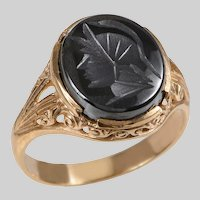 Vintage Hematite Intaglio Ring with Carved Detail Shoulders and Gallery