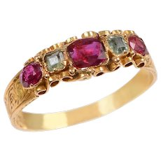 Antique English Ruby and Green Tourmaline Jewel Topped Band  in 15 KT. Gold(RESERVED)