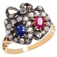 Victorian Lovers Hearts Ring with Diamonds Sapphire and Ruby
