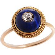 Cabochon Lapis and Old Mine Diamond Button Ring