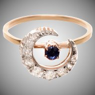 Antique Diamond and Sapphire Crescent Ring