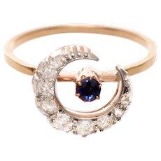 Antique Diamond and Sapphire Crescent Ring