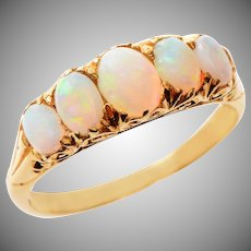 Cabochon Opal and 18 KT Gold Ring