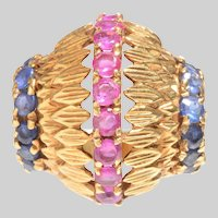 Bombe 18 KT Gold Ruby and Sapphire Ring