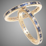 Elegant Sapphire and Diamond Eternity Bands