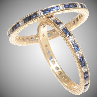Elegant Sapphire and Diamond Eternity Bands