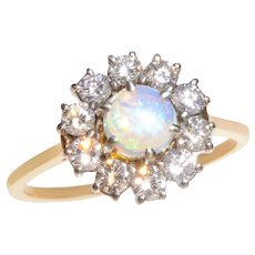 Luminescent Jelly Opal and Diamond Cluster Ring set in 18 KT Gold