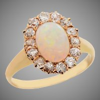 Cabochon Opal Cluster Ring with Diamond Surround