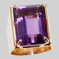 Vintage Amethyst and 14KT Gold Custom Made Ring