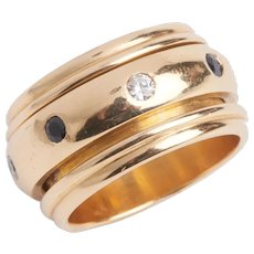 Vintage 18 KT Gold Diamond and Sapphire Rotating Band Ring