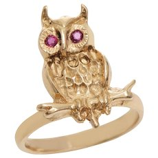 14 KT Gold Hand Carved Owl Ring with Ruby Detail