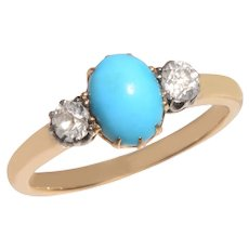Antique Turquoise and Old Diamond Ring 3 Stone Ring