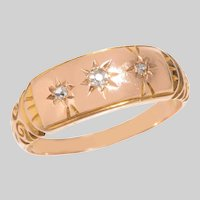 Antique 3 Stone Diamond set Gypsy Band Ring in 15 KT Gold