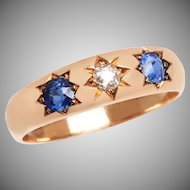 3 Stone Sapphire and Diamond Edwardian Gypsy Style Ring
