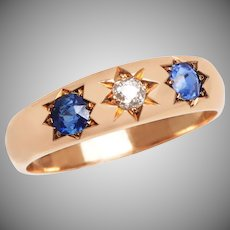 3 Stone Sapphire and Diamond Edwardian Gypsy Style Ring