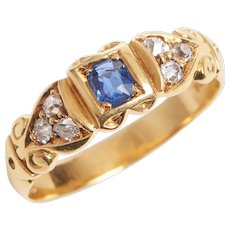 Edwardian 18KT Sapphire and Diamond Scroll Motif Ring