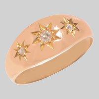 Antique 18 KT Rose Gold 3 Stone Diamond Star Setting Gypsy Ring