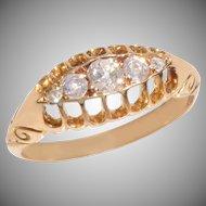 Antique 5 Diamond Boat Ring
