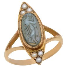 Antique Hardstone Cameo and Pearl Ring