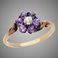 Amethyst and Diamond Floral Cluster Ring